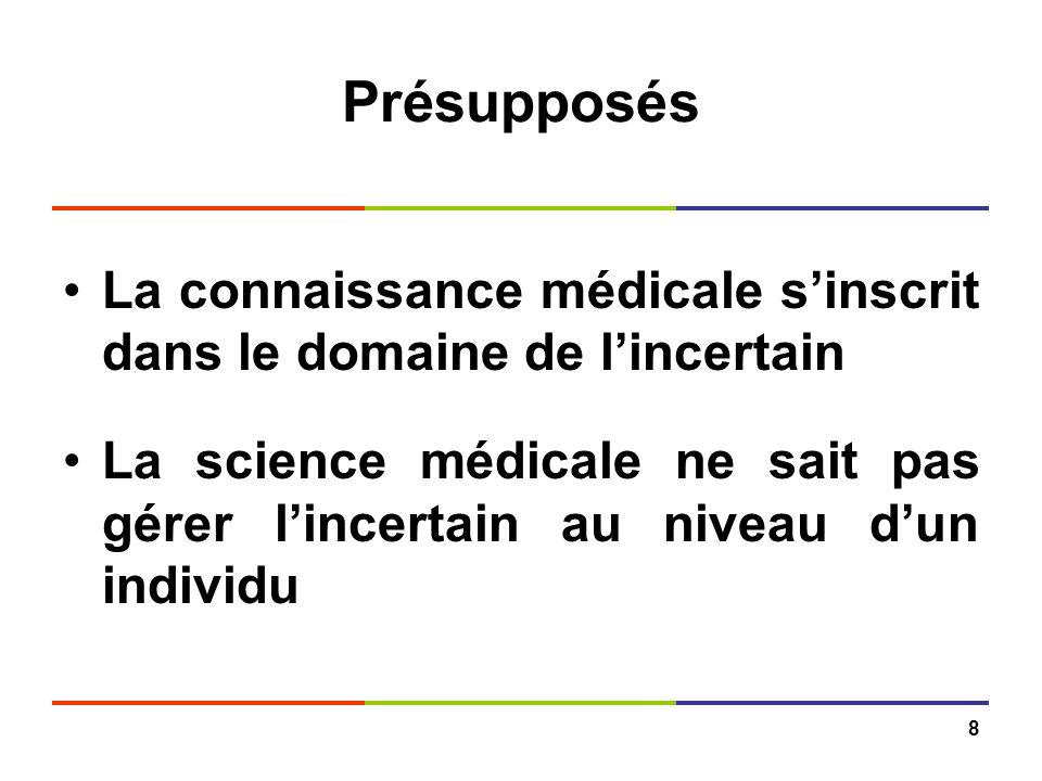 8 Présupposés La connaissance médicale sinscrit dans le domaine de lincertain La science médicale ne sait pas gérer lincertain au niveau dun individu