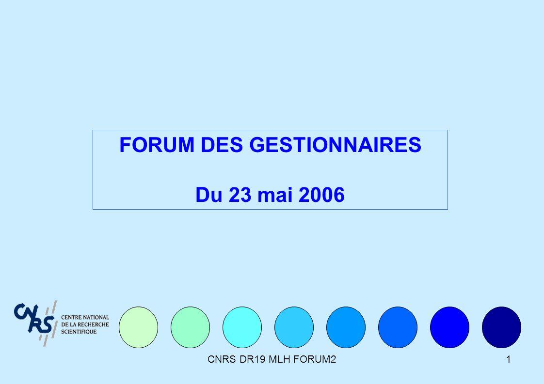 CNRS DR19 MLH FORUM21 FORUM DES GESTIONNAIRES Du 23 mai 2006