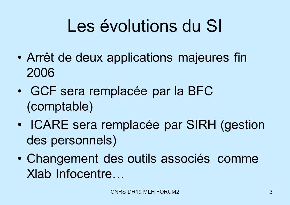 CNRS DR19 MLH FORUM23 Les évolutions du SI Arrêt de deux applications majeures fin 2006 GCF sera remplacée par la BFC (comptable) ICARE sera remplacée