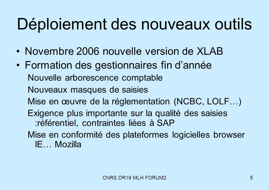 CNRS DR19 MLH FORUM25 Déploiement des nouveaux outils Novembre 2006 nouvelle version de XLAB Formation des gestionnaires fin dannée Nouvelle arboresce