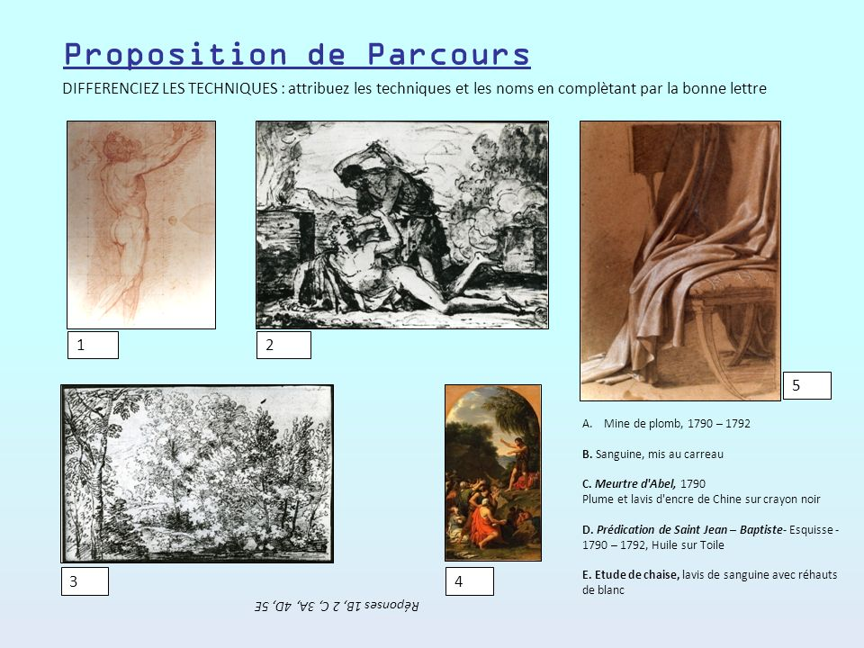 DISTINGUEZ LES GENRES : inscrivez dans chaque cadre le genre de la peinture Réponses possibles : religieuse, histoire, paysage, portrait Proposition de Parcours