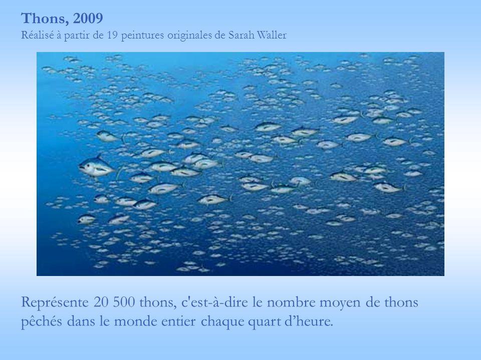 Thons, 2009 Réalisé à partir de 19 peintures originales de Sarah Waller Représente 20 500 thons, c'est-à-dire le nombre moyen de thons pêchés dans le
