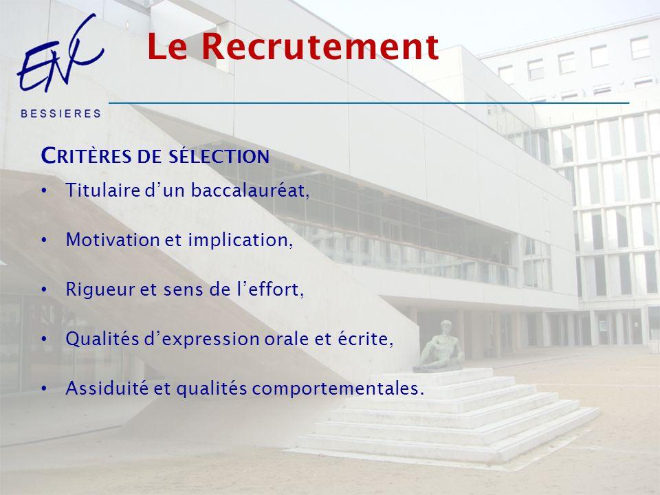 Le Recrutement C RITÈRES DE SÉLECTION Titulaire dun baccalauréat, Motivation et implication, Rigueur et sens de leffort, Qualités dexpression orale et écrite, Assiduité et qualités comportementales.