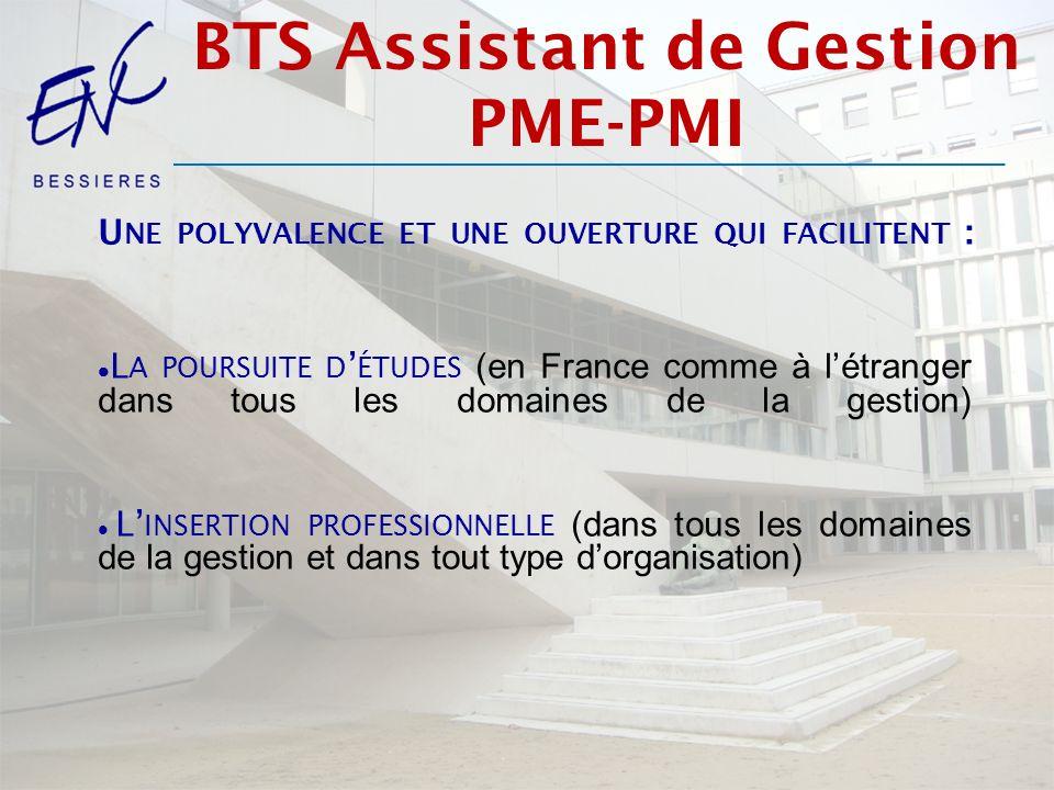 U NE POLYVALENCE ET UNE OUVERTURE QUI FACILITENT : L A POURSUITE D ÉTUDES (en France comme à létranger dans tous les domaines de la gestion) L INSERTION PROFESSIONNELLE (dans tous les domaines de la gestion et dans tout type dorganisation) BTS Assistant de Gestion PME-PMI