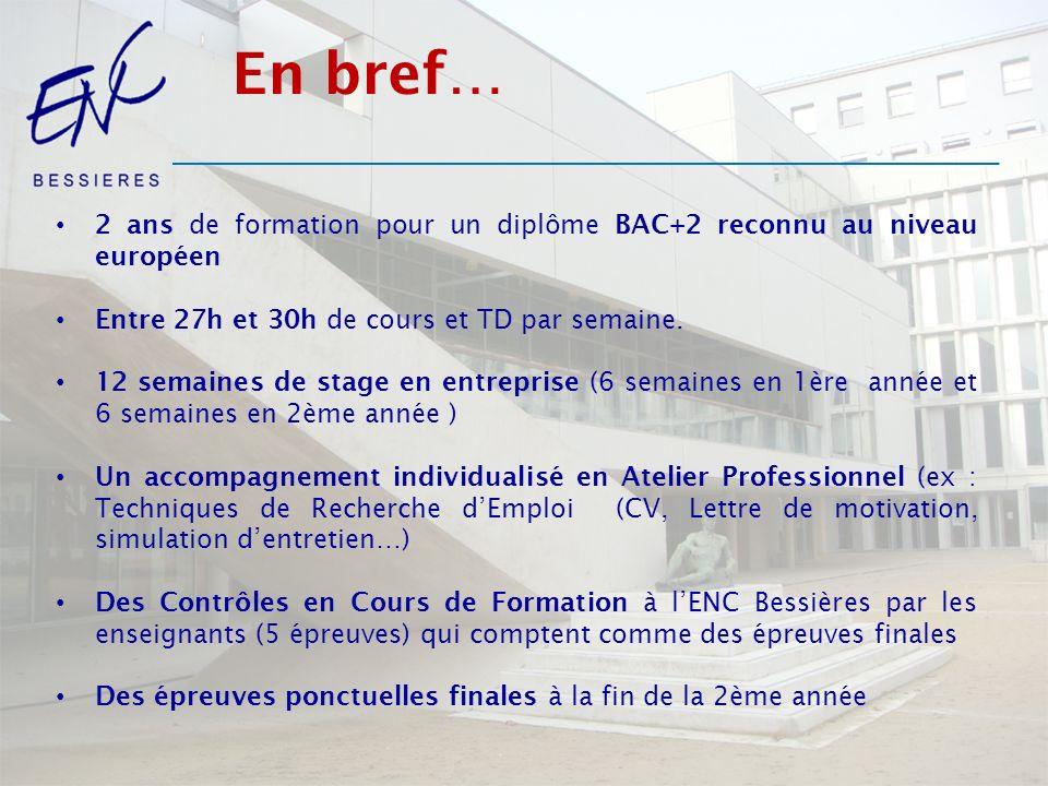 En bref… 2 ans de formation pour un diplôme BAC+2 reconnu au niveau européen Entre 27h et 30h de cours et TD par semaine.