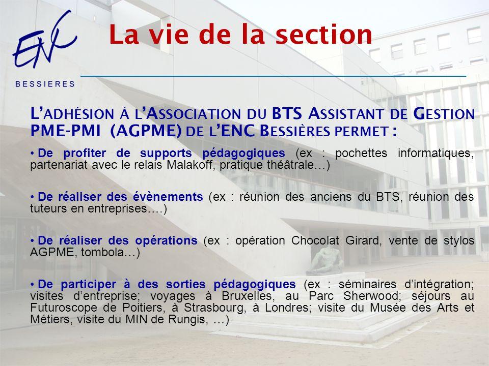 Les résultats Taux de réussite au BTS AG PME-PMI à lENC Bessières 2013 : 80% 2012 : 74% 2011 : 80% 2010 : 87% Taux de réussite PARIS-CRETEIL-VERSAILLES entre 50 et 55% selon les années.