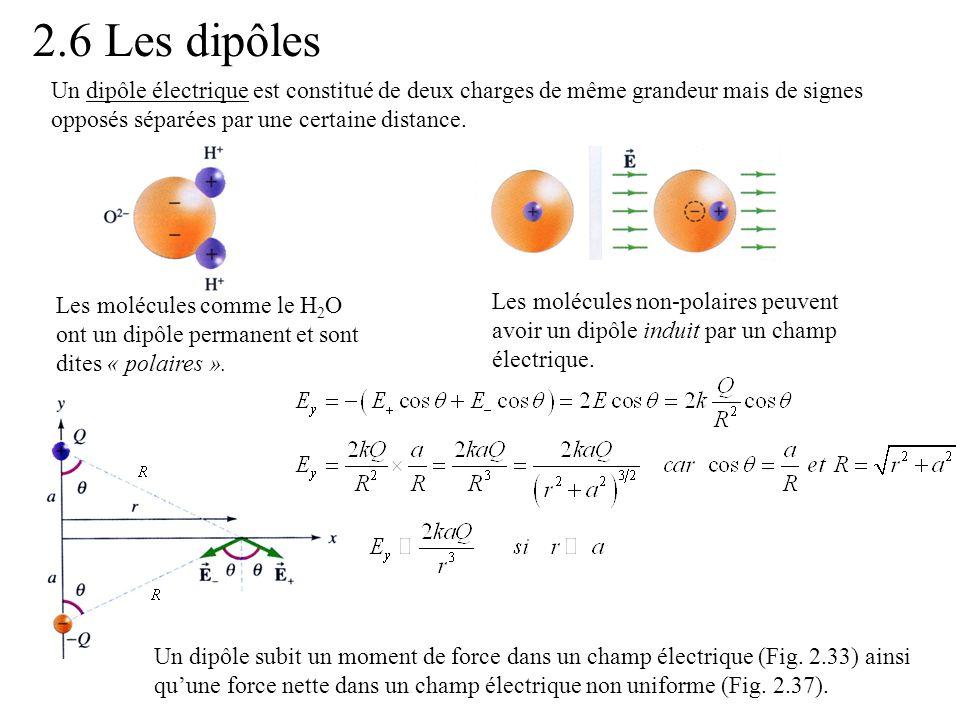 2.6 Les dipôles Un dipôle électrique est constitué de deux charges de même grandeur mais de signes opposés séparées par une certaine distance. Les mol