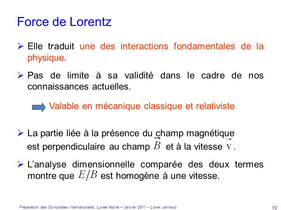Préparation des Olympiades Internationales, Lycée Hoche – Janvier 2011 – Lionel Jannaud 10 Force de Lorentz Elle traduit une des interactions fondamentales de la physique.