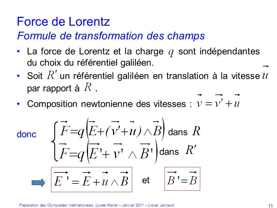 Préparation des Olympiades Internationales, Lycée Hoche – Janvier 2011 – Lionel Jannaud 11 Force de Lorentz La force de Lorentz et la charge sont indépendantes du choix du référentiel galiléen.