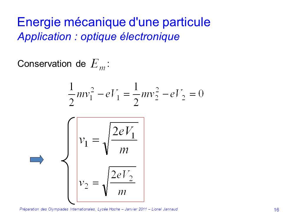 Préparation des Olympiades Internationales, Lycée Hoche – Janvier 2011 – Lionel Jannaud 16 Conservation de : Energie mécanique d une particule Application : optique électronique