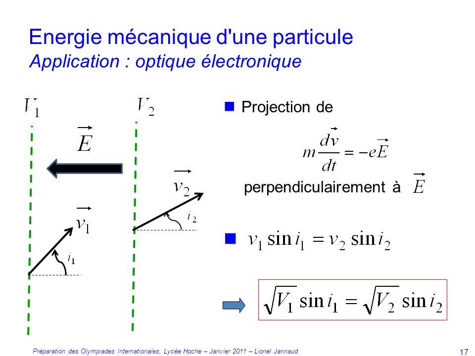 Préparation des Olympiades Internationales, Lycée Hoche – Janvier 2011 – Lionel Jannaud 17 Projection de perpendiculairement à Energie mécanique d une particule Application : optique électronique