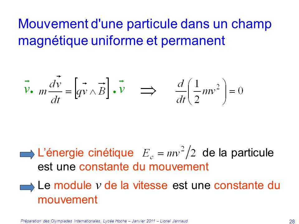 Préparation des Olympiades Internationales, Lycée Hoche – Janvier 2011 – Lionel Jannaud 28 Lénergie cinétique de la particule est une constante du mouvement Le module v de la vitesse est une constante du mouvement.v.vv.v.
