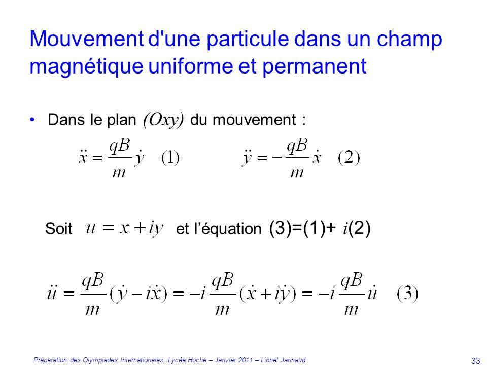 Préparation des Olympiades Internationales, Lycée Hoche – Janvier 2011 – Lionel Jannaud 33 Dans le plan (Oxy) du mouvement : Soit et léquation (3)=(1)+ i (2) Mouvement d une particule dans un champ magnétique uniforme et permanent
