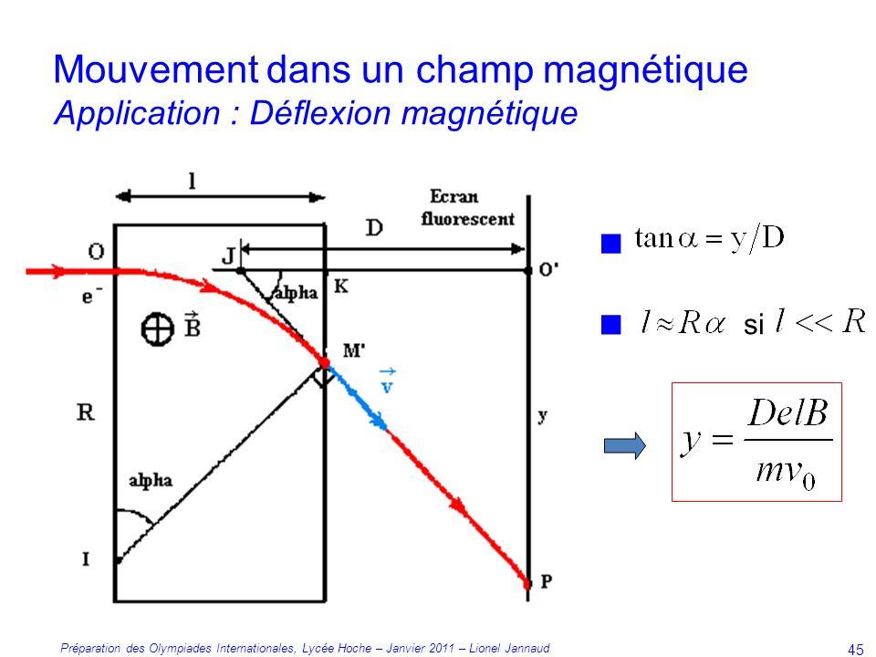 Préparation des Olympiades Internationales, Lycée Hoche – Janvier 2011 – Lionel Jannaud 45 si Mouvement dans un champ magnétique Application : Déflexion magnétique