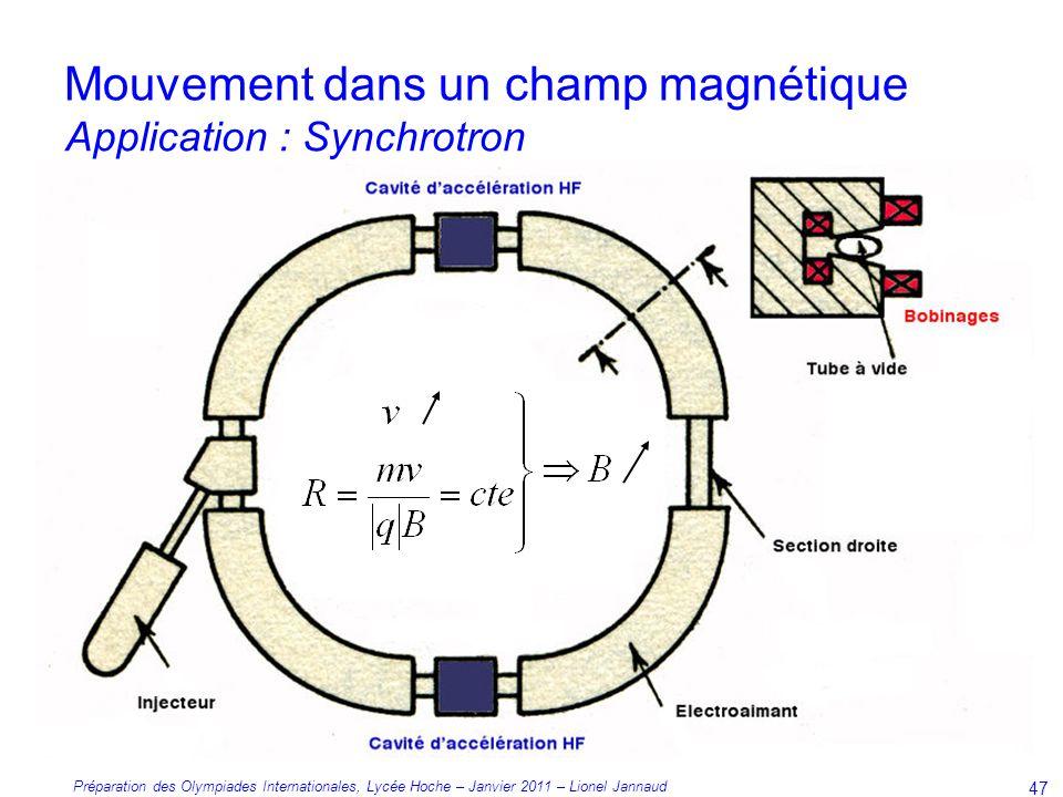 Préparation des Olympiades Internationales, Lycée Hoche – Janvier 2011 – Lionel Jannaud 47 Mouvement dans un champ magnétique Application : Synchrotron