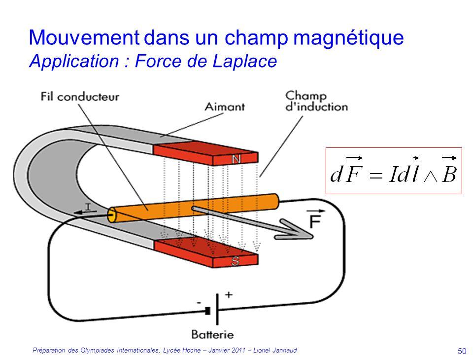Préparation des Olympiades Internationales, Lycée Hoche – Janvier 2011 – Lionel Jannaud 50 Mouvement dans un champ magnétique Application : Force de Laplace