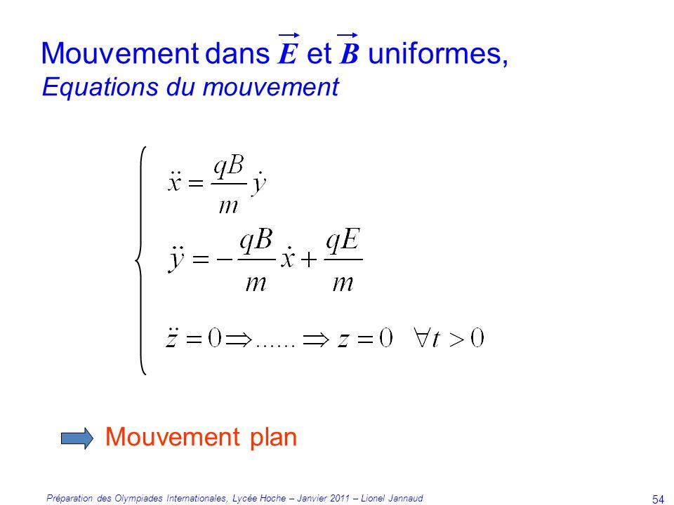 Préparation des Olympiades Internationales, Lycée Hoche – Janvier 2011 – Lionel Jannaud 54 Mouvement plan Equations du mouvement Mouvement dans E et B uniformes,