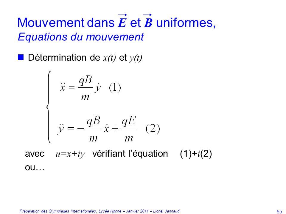 Préparation des Olympiades Internationales, Lycée Hoche – Janvier 2011 – Lionel Jannaud 55 Détermination de x(t) et y(t) avec u=x+iy vérifiant léquation (1)+ i (2) ou… Equations du mouvement Mouvement dans E et B uniformes,