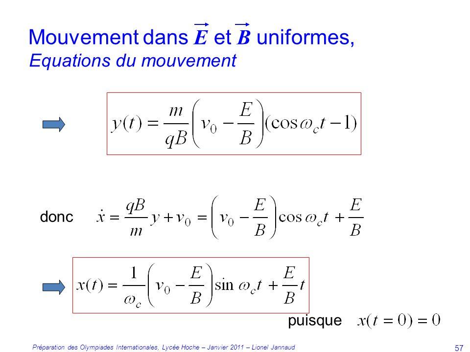 Préparation des Olympiades Internationales, Lycée Hoche – Janvier 2011 – Lionel Jannaud 57 Equations du mouvement Mouvement dans E et B uniformes, donc puisque