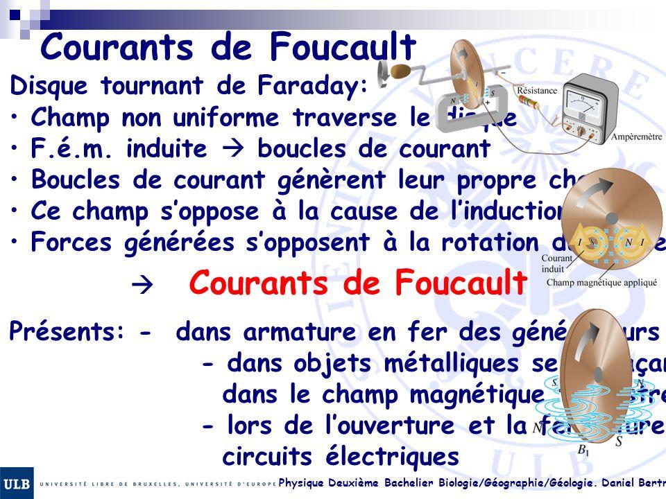 Physique Deuxième Bachelier Biologie/Géographie/Géologie. Daniel Bertrand 22.16 Courants de Foucault Disque tournant de Faraday: Champ non uniforme tr