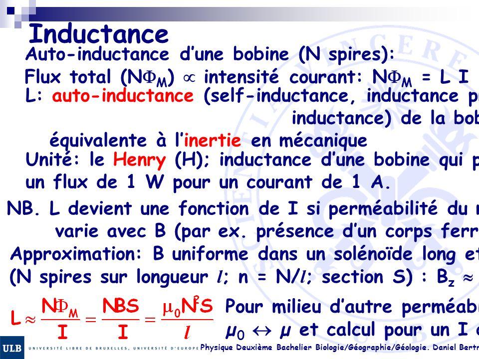 Physique Deuxième Bachelier Biologie/Géographie/Géologie. Daniel Bertrand 22.18 Inductance Auto-inductance dune bobine (N spires): Flux total (N M ) i