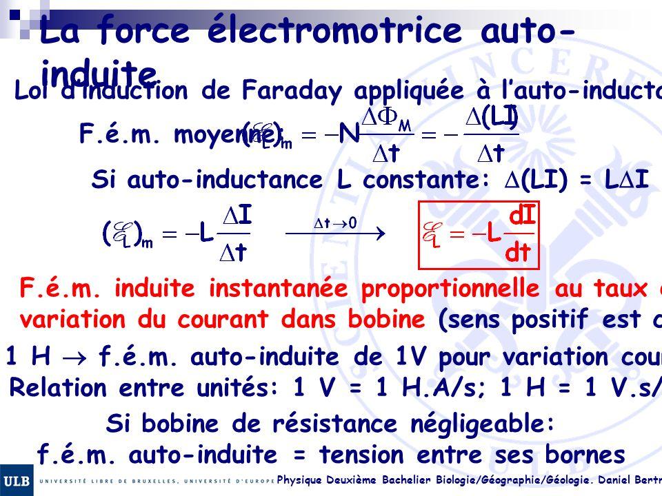 Physique Deuxième Bachelier Biologie/Géographie/Géologie. Daniel Bertrand 22.20 La force électromotrice auto- induite Loi dinduction de Faraday appliq