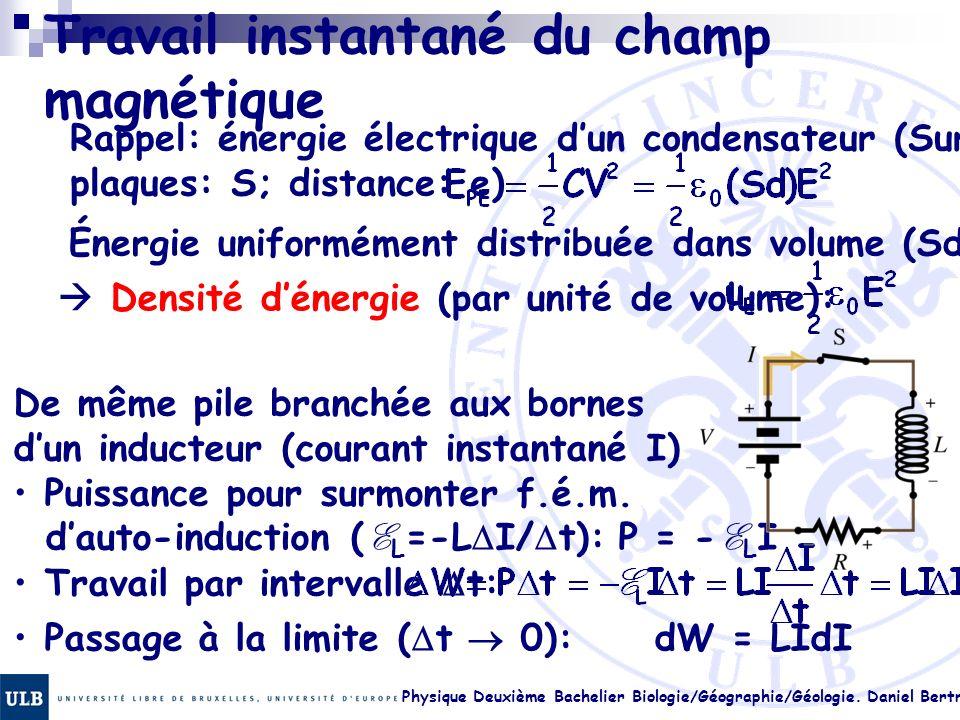 Physique Deuxième Bachelier Biologie/Géographie/Géologie. Daniel Bertrand 22.26 Travail instantané du champ magnétique Rappel: énergie électrique dun