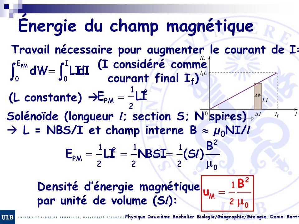 Physique Deuxième Bachelier Biologie/Géographie/Géologie. Daniel Bertrand 22.27 Énergie du champ magnétique Travail nécessaire pour augmenter le coura