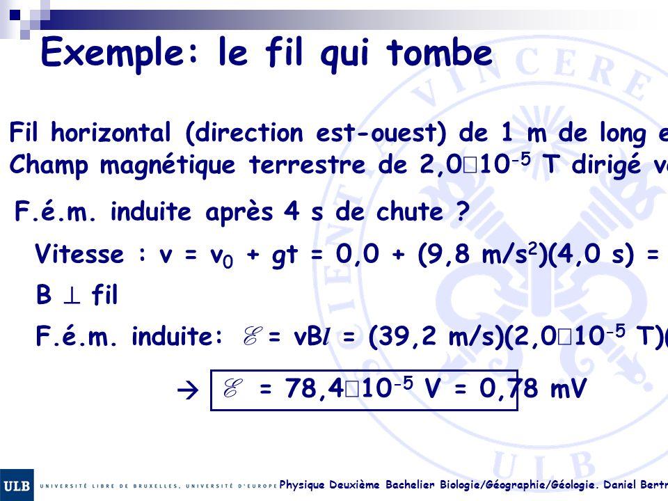 Physique Deuxième Bachelier Biologie/Géographie/Géologie. Daniel Bertrand 22.8 Exemple: le fil qui tombe Fil horizontal (direction est-ouest) de 1 m d