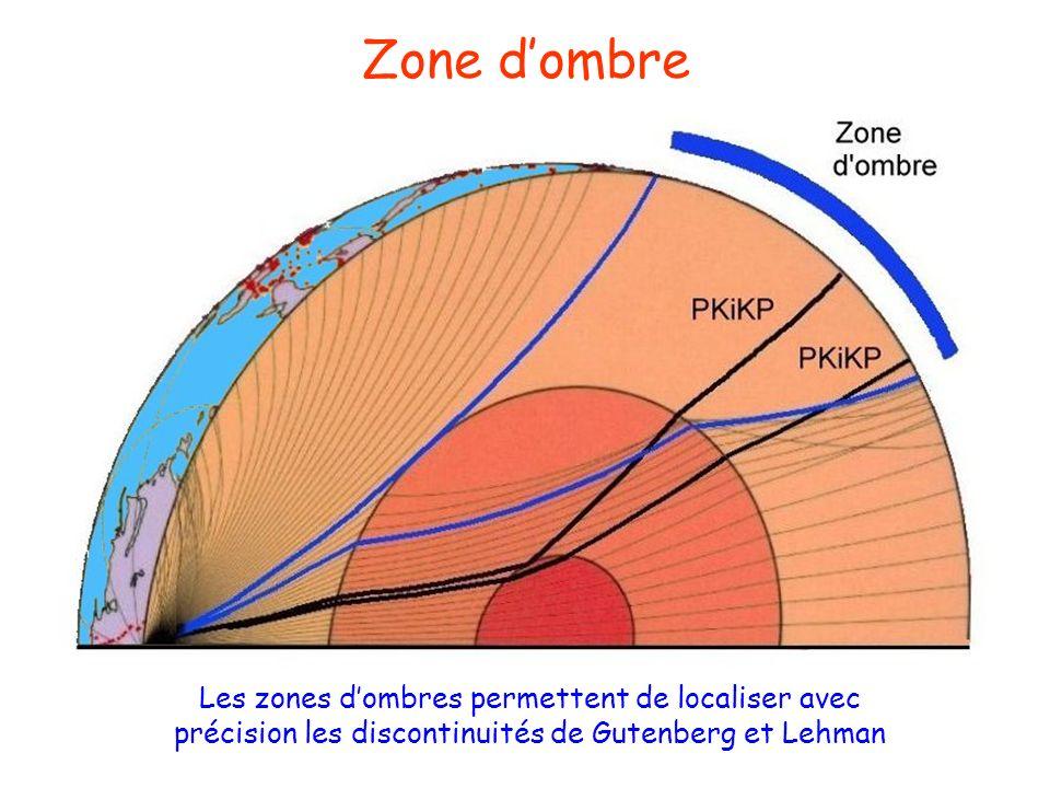 Zone dombre Les zones dombres permettent de localiser avec précision les discontinuités de Gutenberg et Lehman