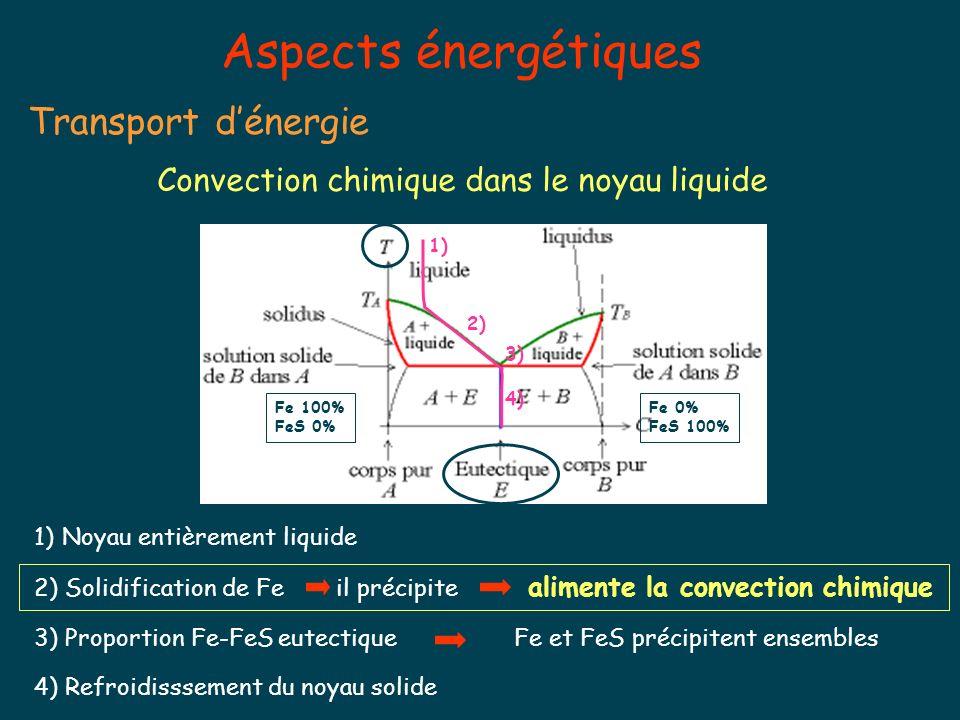 Aspects énergétiques Transport dénergie Convection chimique dans le noyau liquide Fe 100% FeS 0% Fe 0% FeS 100% 1)Noyau entièrement liquide 2) Solidification de Fe il précipite alimente la convection chimique 3) Proportion Fe-FeS eutectiqueFe et FeS précipitent ensembles 4) Refroidisssement du noyau solide 1) 2) 3) 4)