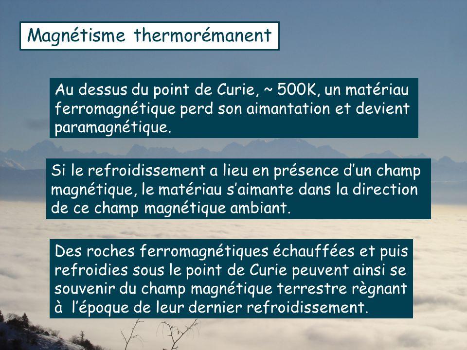 Au dessus du point de Curie, ~ 500K, un matériau ferromagnétique perd son aimantation et devient paramagnétique.