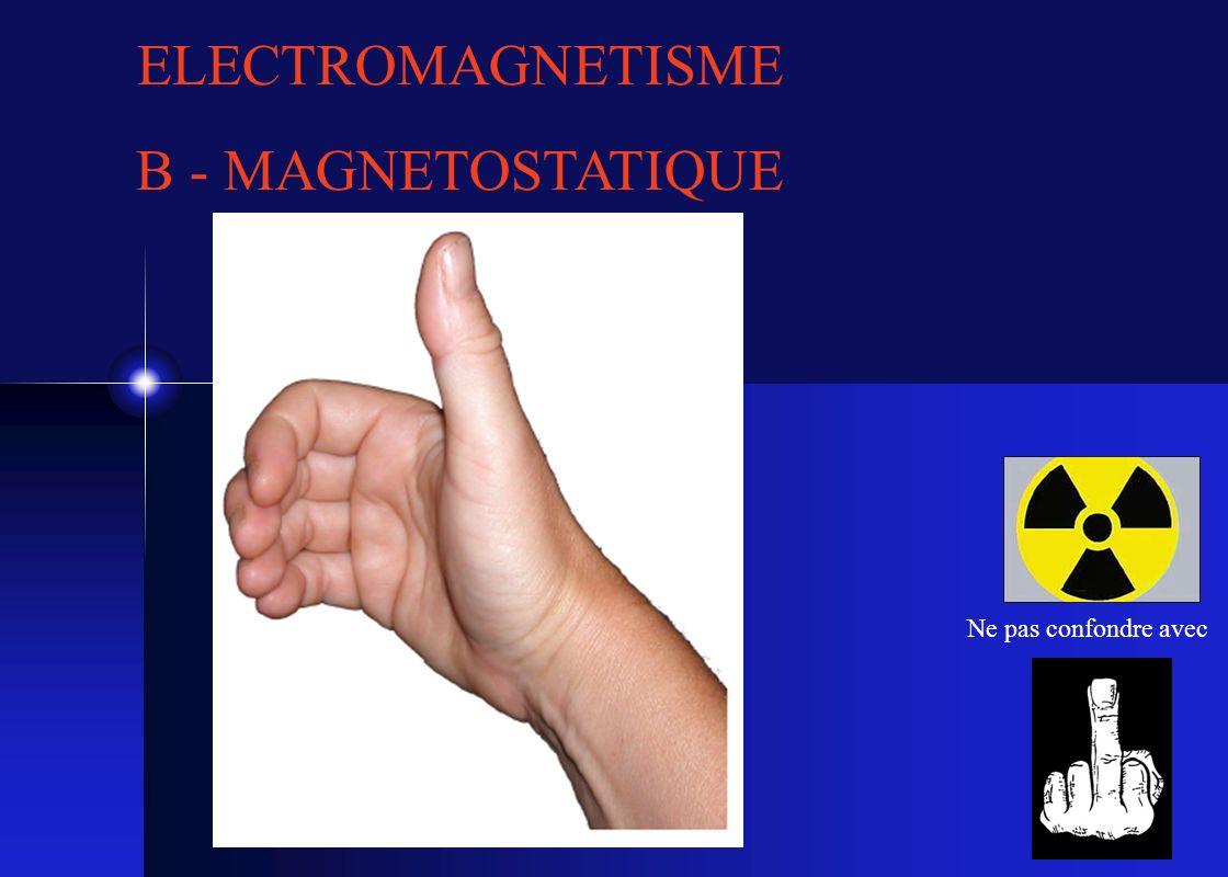 1 ELECTROMAGNETISME B - MAGNETOSTATIQUE Ne pas confondre avec