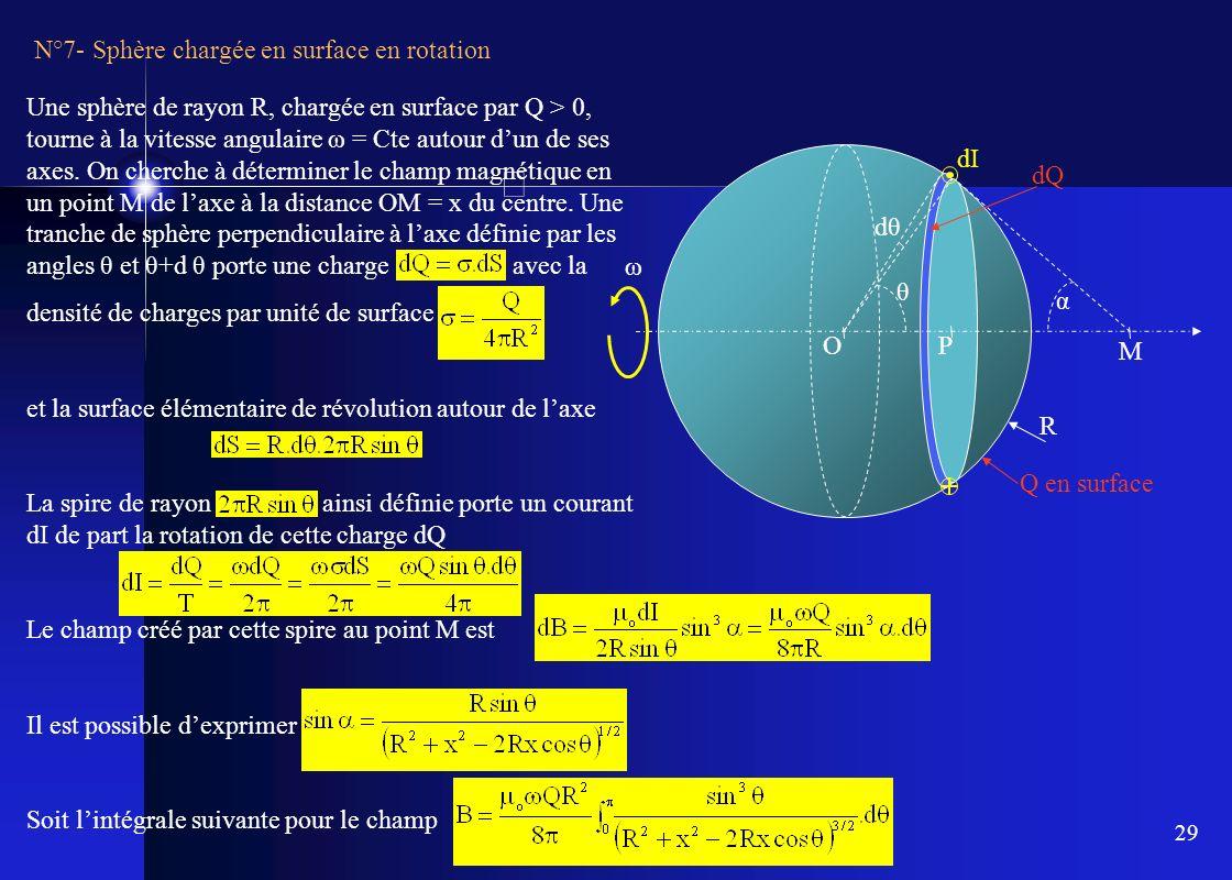 29 N°7- Sphère chargée en surface en rotation Une sphère de rayon R, chargée en surface par Q > 0, tourne à la vitesse angulaire ω = Cte autour dun de