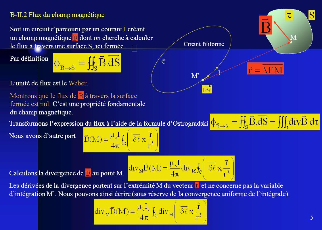 5 B-II.2 Flux du champ magnétique Soit un circuit C parcouru par un courant I créant un champ magnétique dont on cherche à calculer le flux à travers