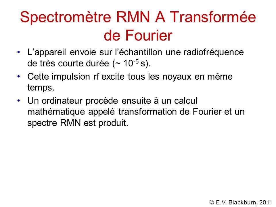 © E.V. Blackburn, 2011 Spectromètre RMN A Transformée de Fourier Lappareil envoie sur léchantillon une radiofréquence de très courte durée (~ 10 -5 s)