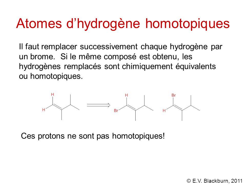 © E.V. Blackburn, 2011 Atomes dhydrogène homotopiques Il faut remplacer successivement chaque hydrogène par un brome. Si le même composé est obtenu, l