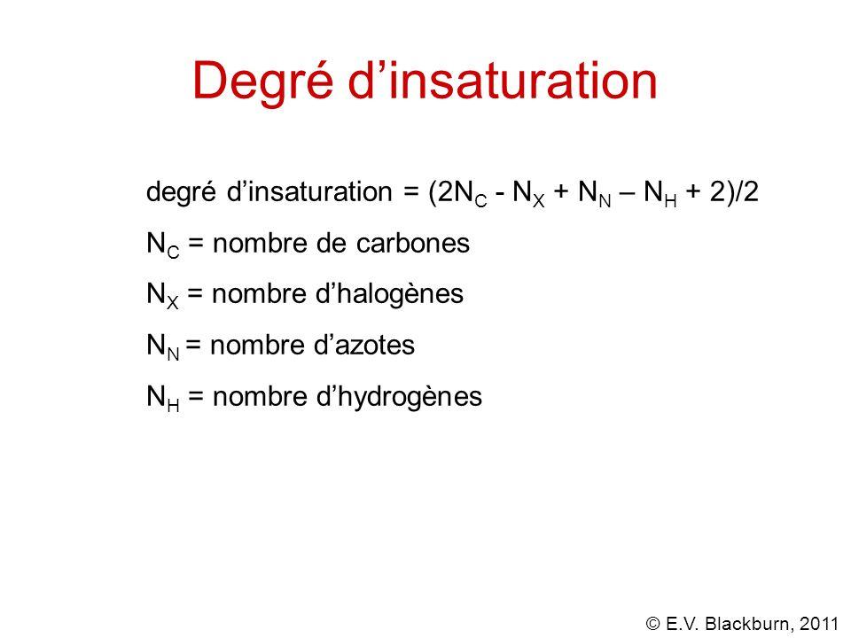 © E.V. Blackburn, 2011 Degré dinsaturation degré dinsaturation = (2N C - N X + N N – N H + 2)/2 N C = nombre de carbones N X = nombre dhalogènes N N =