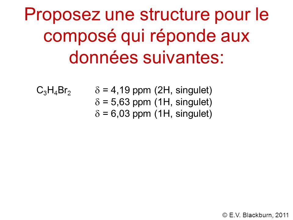 Proposez une structure pour le composé qui réponde aux données suivantes: C 3 H 4 Br 2 = 4,19 ppm (2H, singulet) = 5,63 ppm (1H, singulet) = 6,03 ppm (1H, singulet)
