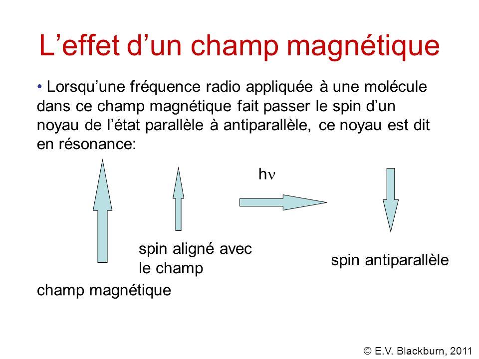 © E.V. Blackburn, 2011 Leffet dun champ magnétique Lorsquune fréquence radio appliquée à une molécule dans ce champ magnétique fait passer le spin dun