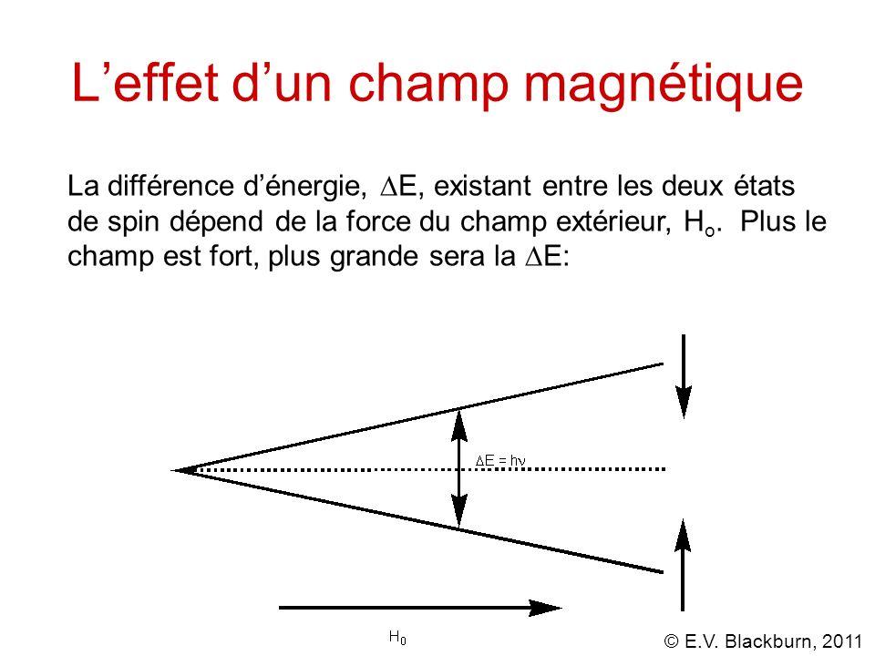 © E.V. Blackburn, 2011 Leffet dun champ magnétique La différence dénergie, E, existant entre les deux états de spin dépend de la force du champ extéri