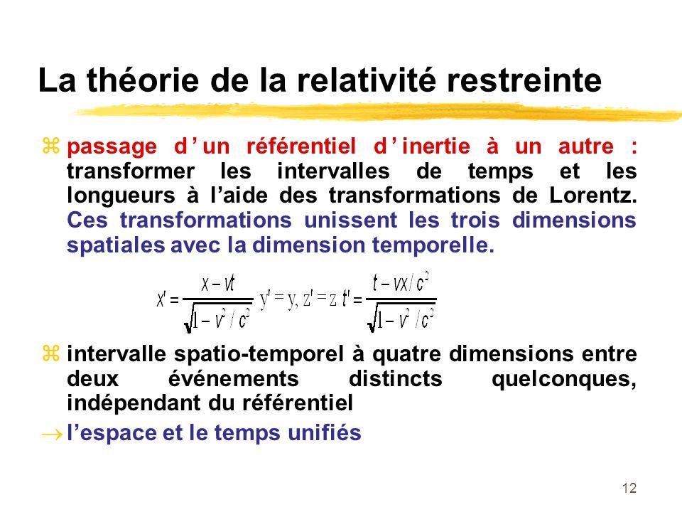 12 La théorie de la relativité restreinte passage dun référentiel dinertie à un autre : transformer les intervalles de temps et les longueurs à laide