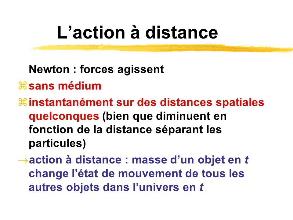Laction à distance Newton : forces agissent sans médium instantanément sur des distances spatiales quelconques (bien que diminuent en fonction de la d