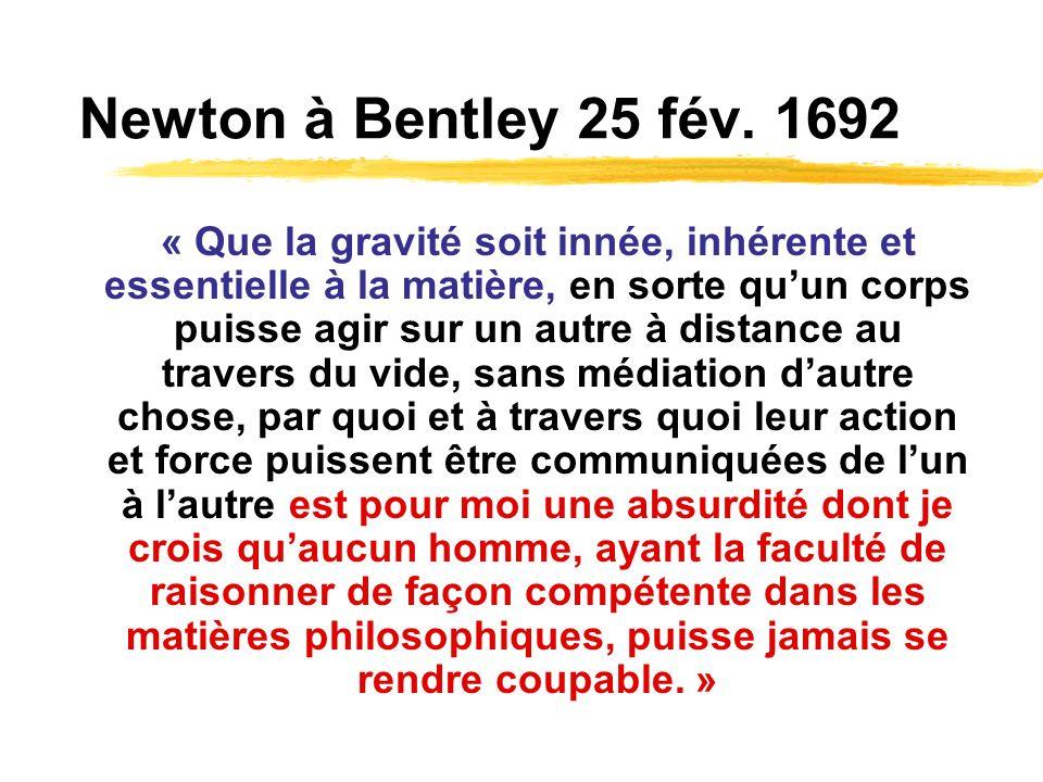 Newton à Bentley 25 fév. 1692 « Que la gravité soit innée, inhérente et essentielle à la matière, en sorte quun corps puisse agir sur un autre à dista