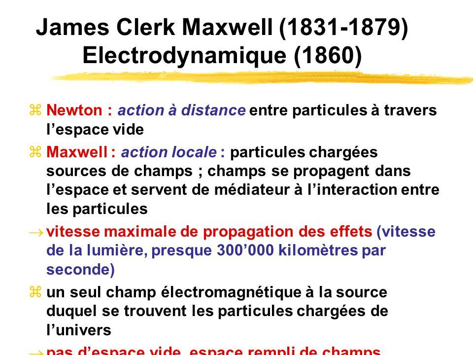James Clerk Maxwell (1831-1879) Electrodynamique (1860) Newton : action à distance entre particules à travers lespace vide Maxwell : action locale : p