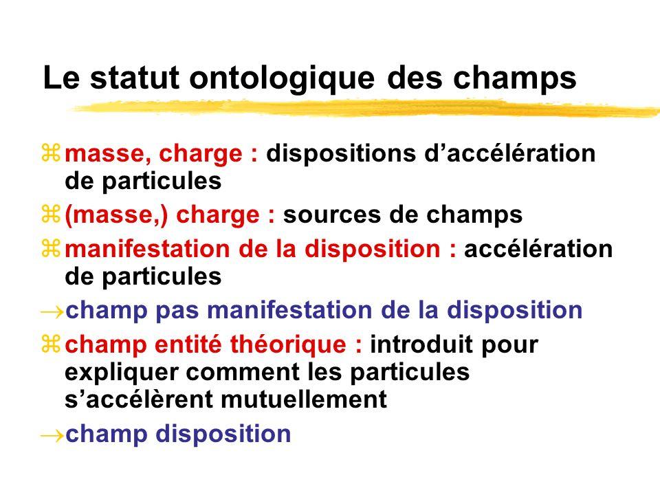 Le statut ontologique des champs masse, charge : dispositions daccélération de particules (masse,) charge : sources de champs manifestation de la disp