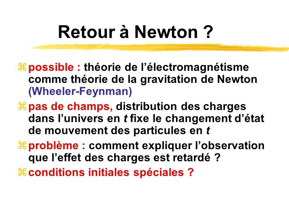 Retour à Newton ? possible : théorie de lélectromagnétisme comme théorie de la gravitation de Newton (Wheeler-Feynman) pas de champs, distribution des