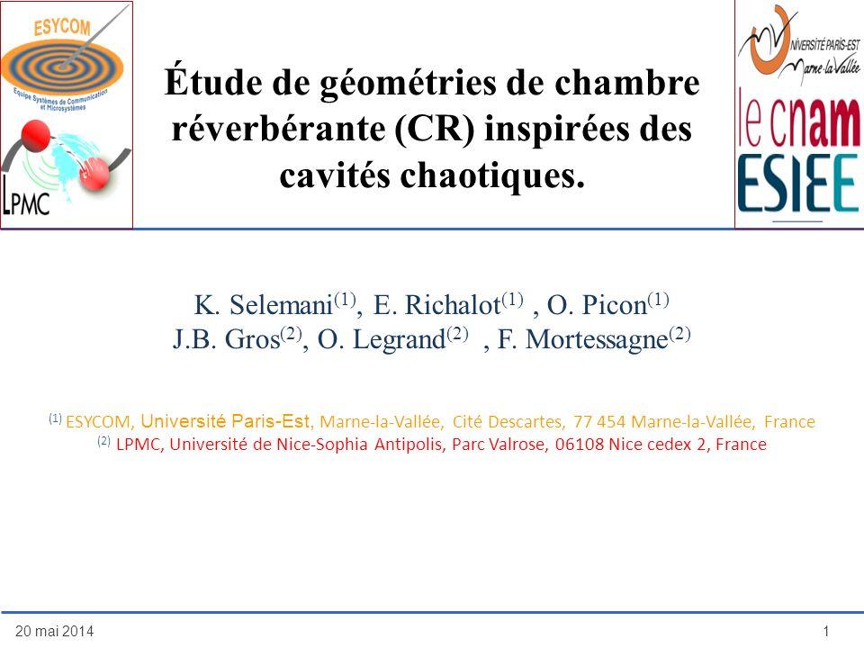 Étude de géométries de chambre réverbérante (CR) inspirées des cavités chaotiques. 20 mai 20141 K. Selemani (1), E. Richalot (1), O. Picon (1) J.B. Gr