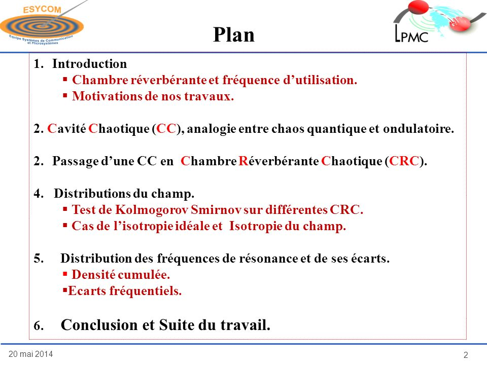 Plan 20 mai 2014 2 1.Introduction Chambre réverbérante et fréquence dutilisation. Motivations de nos travaux. 2. Cavité Chaotique (CC), analogie entre