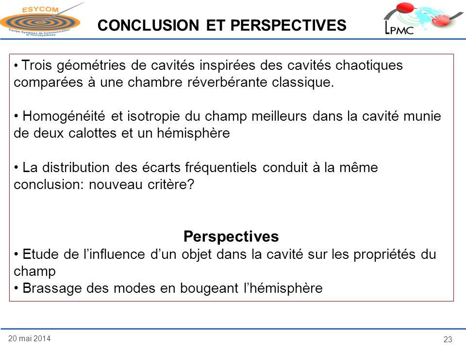 20 mai 2014 23 CONCLUSION ET PERSPECTIVES Trois géométries de cavités inspirées des cavités chaotiques comparées à une chambre réverbérante classique.